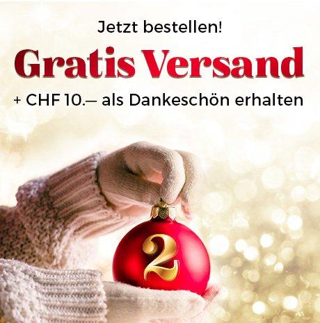 Die besten Weihnachtsgeschenke - versandkostenfrei + 10 Franken geschenkt